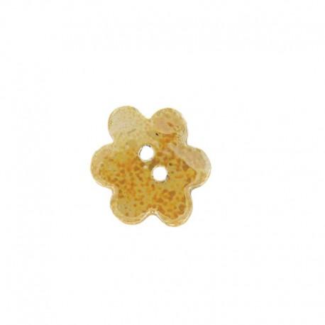 Ceramic button, big flower - yellow