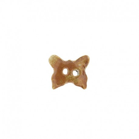 Ceramic button, butterfly - chocolate