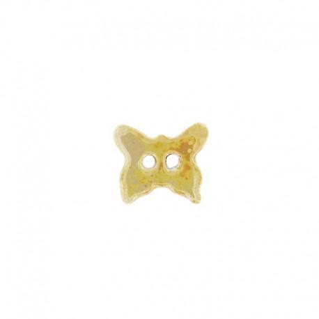 Bouton céramique papillon jaune