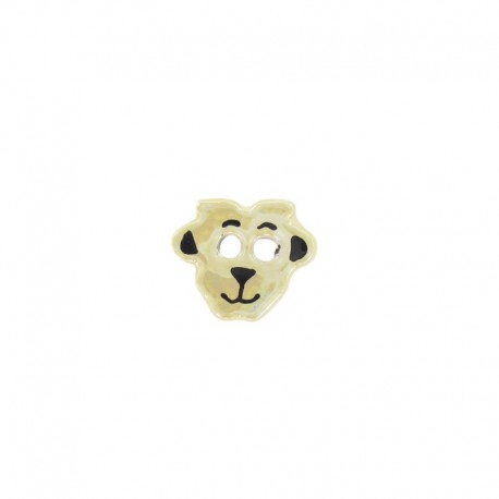 Ceramic button, sheep - topaz-colored