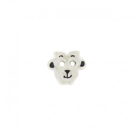 Ceramic button, sheep - iridescent