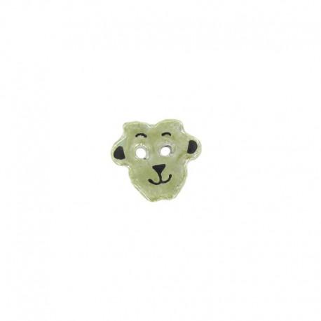 Bouton céramique mouton vert jaune