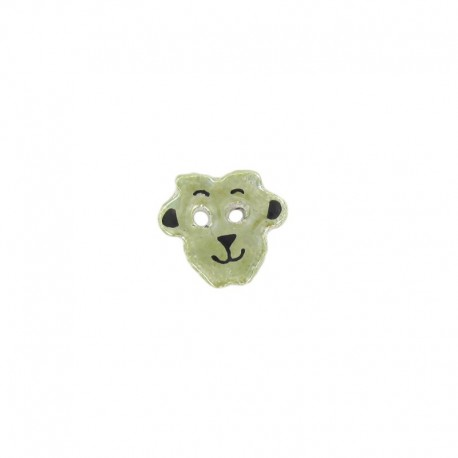 Ceramic button, sheep - green/yellow