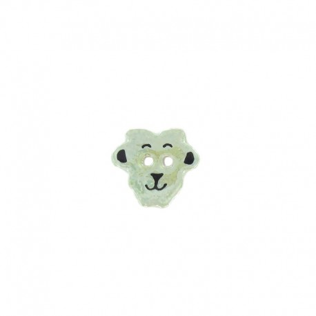 Ceramic button, sheep - jade-green