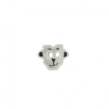 Ceramic button, sheep - light grey