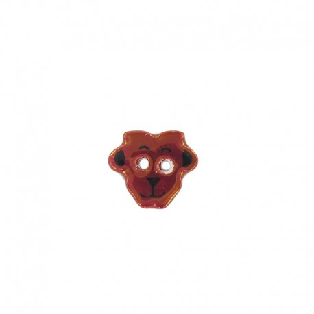 Ceramic button, sheep - garnet red