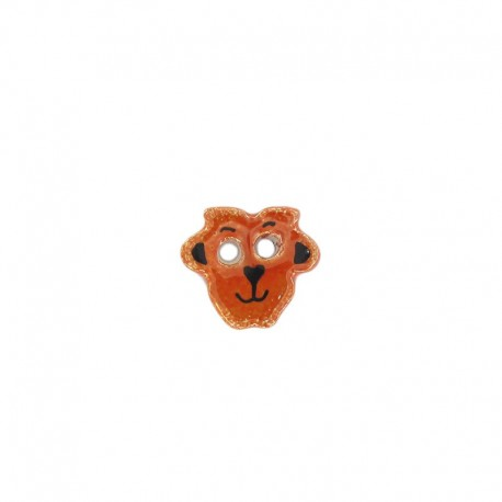 Ceramic button, sheep - orange