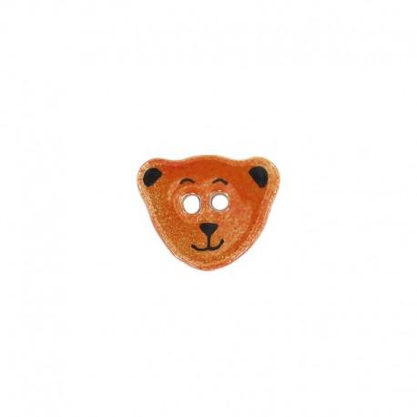 Ceramic button, teddy bear - orange