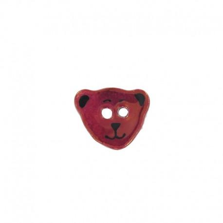Ceramic button, teddy bear - garnet red