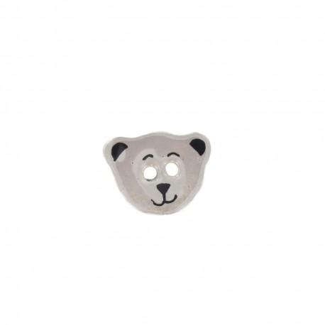 Ceramic button, teddy bear - light grey