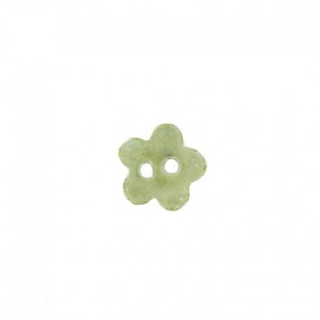 Bouton céramique petite fleur vert jaune