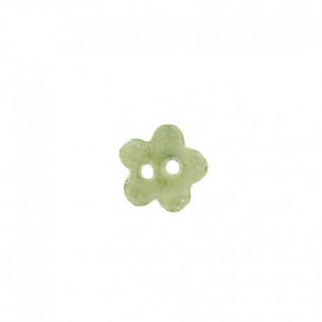 Ceramic button, little flower - green/yellow