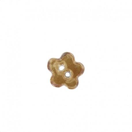 Bouton céramique petite fleur chocolat