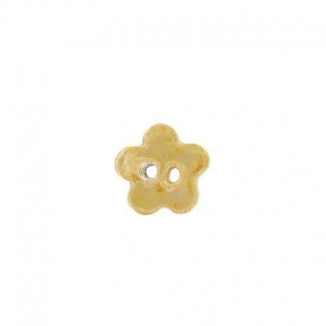 Bouton céramique petite fleur jaune