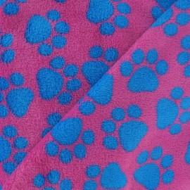 Tissu Doudou pas de chat fuchsia et bleu x 10cm