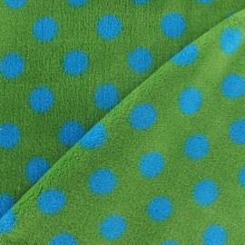 Tissu Doudou Dots turquoise fond vert x 10cm
