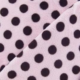 Tissu Doudou Dots marron fond rose x 10cm