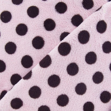 Baby's Security Blanket Dots fabric - brown/pink background x 10cm