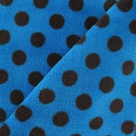 ♥ Coupon 120 cm X 140 cm ♥ Tissu Doudou Dots marron fond turquoise