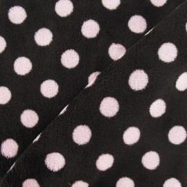Tissu Doudou Dots rose fond marron