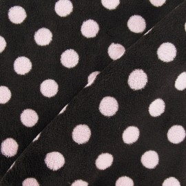 Tissu Doudou Dots rose fond marron x 10cm
