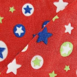 Tissu Doudou Stars rouge x 10cm
