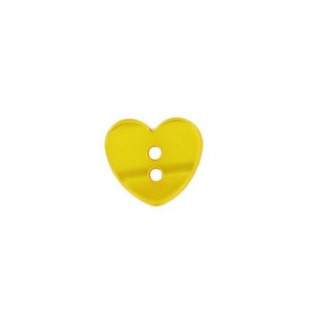 Bouton polyester petit coeur aspect nacré jaune