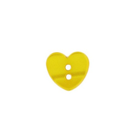 Polyester button, little heart, pearly aspect - yellow