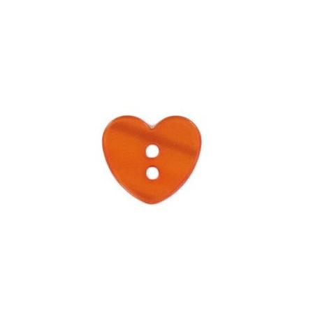 Bouton polyester petit coeur aspect nacré orange