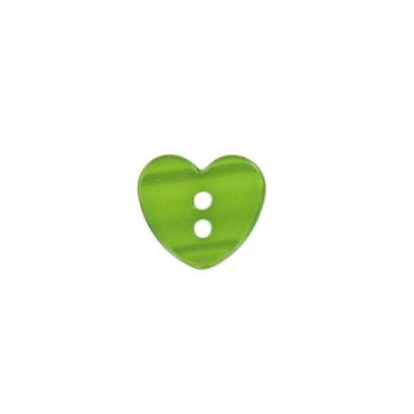 Bouton polyester petit coeur aspect nacré vert