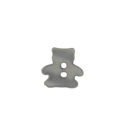 Polyester button, pearly aspect, teddy bear - anthracite grey