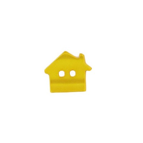 Polyester button, pearly aspect house - yellow
