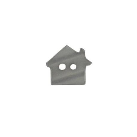Polyester button, pearly aspect house - anthracite grey