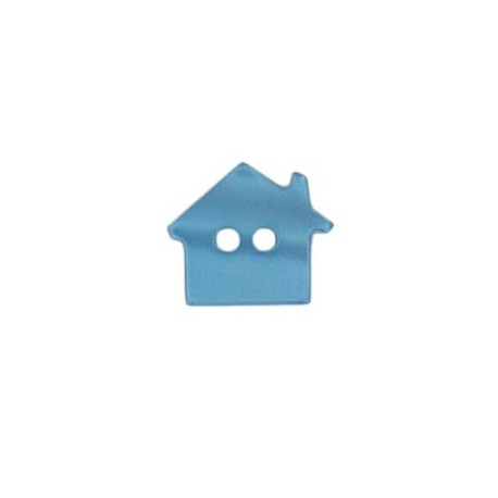 Polyester button, pearly aspect house - aero blue