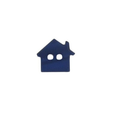 Polyester button, pearly aspect house - navy blue