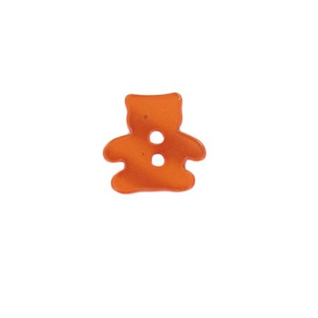 Polyester button, pearly aspect Teddy bear - orange