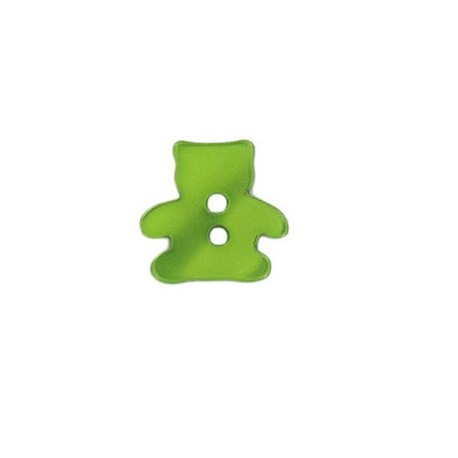 Polyester button, pearly aspect Teddy bear - green