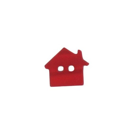 Polyester button, pearly aspect house - red