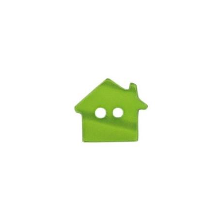 Bouton polyester Maison aspect nacré vert
