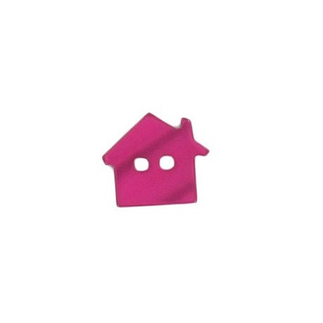 Polyester button, pearly aspect house - fuchsia