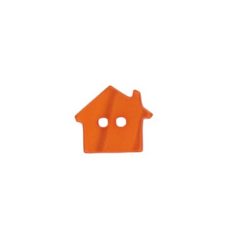 Polyester button, pearly aspect house - orange