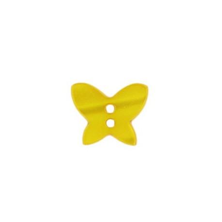Bouton polyester Papillon aspect nacré jaune