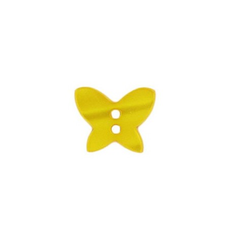 Polyester button, pearly aspect butterfly - yellow