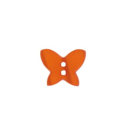Polyester button, pearly aspect butterfly - orange