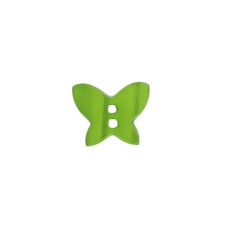 Polyester button, pearly aspect butterfly - green