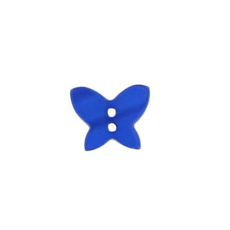 Polyester button, pearly aspect butterfly - navy blue