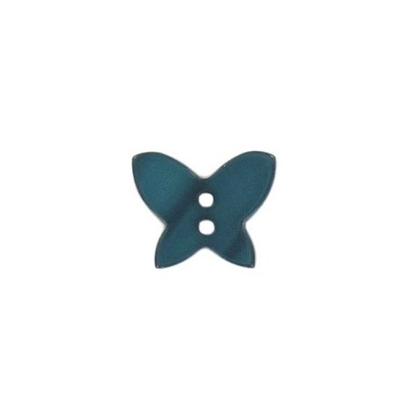 Polyester button, pearly aspect butterfly - blue