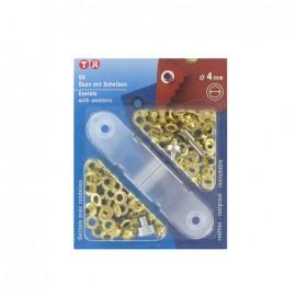 Oeillets avec rondelles 4mm doré + outil