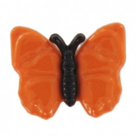Bouton polyester Papillon noir et orange