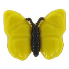 Bouton polyester Papillon noir et jaune